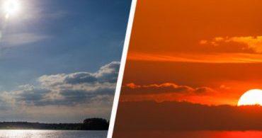Por que o sol é branco ao meio-dia e vermelho durante o nascer e o pôr do sol?